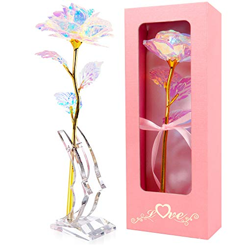 Gift for Mom Mothers Day 24K Gold Foil Colorful Rose Flower Galaxy Rose with Stand Luxury Gift Box Valentines Day Gifts for Her Best Gift for Mother Day Christmas Wedding Anniversary Birthday