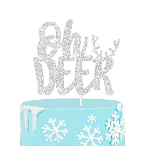 Silver Glitter Reindeer Oh Deer Cake Topper, Winter Baby Shower Cake Topper, Xmas Deer Cake Smash Decor, Winter Onederland Party Decoration