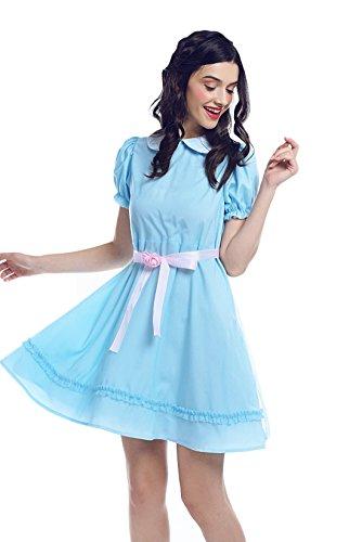 Nuoqi The Shining Grady Twins Costume Womens Blue Chiffon Sweet Lolita Dress Halloween Party Cosplay Costume Adult A M