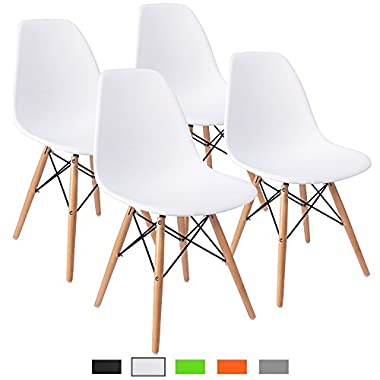 Furmax Pre Assembled Modern Style Dining Chair Mid Century White Modern DSW Chair, Shell Lounge Plastic Chair for Kitchen, Dining, Bedroom, Living Room Side Chairs(Set of 4)