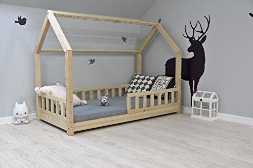 Best For Kids Kinderbett Kinderhaus mit Rausfallschutz Jugendbett Natur Haus Holz Bett mit oder ohne 10 cm Matratze in 8 Größen (90x200 cm ohne Matratze)