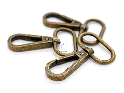 CRAFTMEMORE Snap Hook Swivel Push Gate Lobster Clasps 3/4 1 or 1-1/4 Fashion Clips Purse Making FS10 Pack of 10 (Antique Brass, 1 Inch)