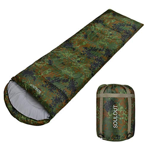 Envelope Sleeping Bag - 4 Seasons Warm Cold Weather Lightweight, Portable, Waterproof Sleeping Bag with Compression Sack for Adults & Kids - Indoor & Outdoor: Camping, Backpacking (Army Green)