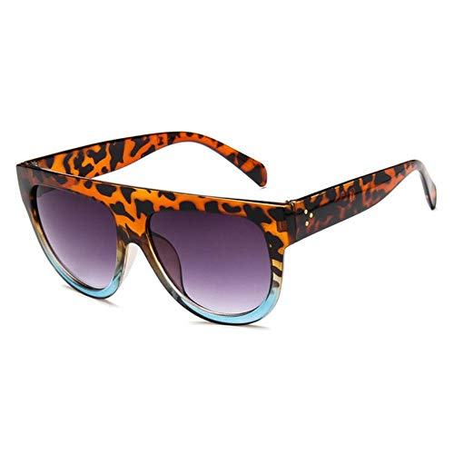 TTZY Kim Kardashian Gafas de Sol Mujer Vintage Retro Flat Top Gradient Shield Gafas de Sol Negras Pilot Luxury Er Gafas extragrandes, C7