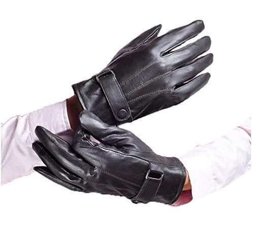 Gants Chauds Pour Hommes Section Épaisse Chevauchant En Voiture Une Único Cuir Gants Gants De Moto D'Hiver (Color : Noir, Size : One Size)
