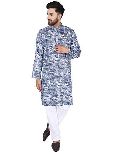 SKAVIJ Herren Baumwolle Kurta Pyjama Set Abendkleider Kleid (Blau, XL)