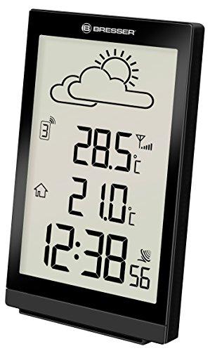 Bresser Wetterstation Funk mit Außensensor Trend ST mit großem Display, grafischem 12-Stunden Wettertrend, Innen- / Außentemperaturanzeige, Schlummerfunktion und DCF-Funksignal, schwarz
