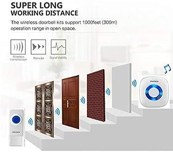 【2020 New】Wireless Doorbell PHYSEN Waterproof Door bells Chimes with Mute Mode,58 Doorbell Chime, 5 Volume Levels,100...