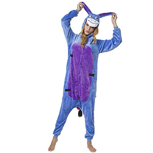 KRAZY TOYS Pijama Animal Entero Unisex para Adultos como Ropa de Dormir-Traje de Disfraz para Festival de Carnaval (Burro, M/L)