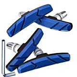 Hotop Pastillas de Freno de Bicicleta V con Tuercas Hexagonales y Espaciador Set de Bloques de Freno de Bicicleta V 70 mm (2 Pares, Azul)