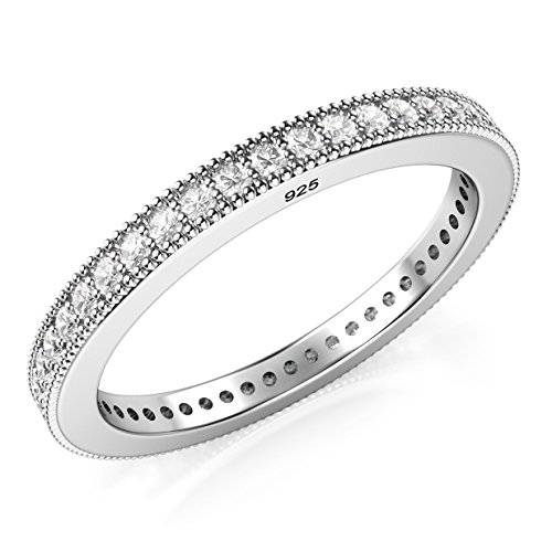 Metal Factory Sz 7 Sterling Silver 2MM 925 CZ Cubic Zirconia Eternity Wedding Band Ring