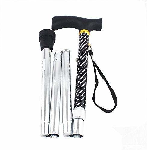 Bastón plegable, cacha, extensible, retráctil, graduación de altura, aluminio, goma interior unión, taco firme (plateado)