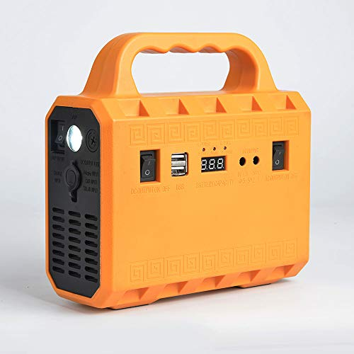 200W Portable Power Station, 133WH Lithium Battery Solar Generator with 2 AC Power Outlet (110V/200W Peak 400W) for Outdoors Trip Camping Emergency