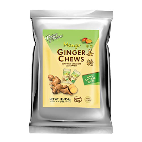 Prince of Peace Ginger Chews with Mango, 1 lb. – Candied Ginger – Mango Candy – Mango Ginger Chews – Natural Candy – Ginger Candy for Nausea