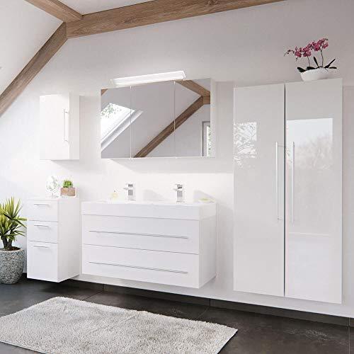 Lomadox Badezimmer Badmöbel-Set in weiß Hochglanz mit 100cm Doppel-Waschtisch & 2X Hochschrank