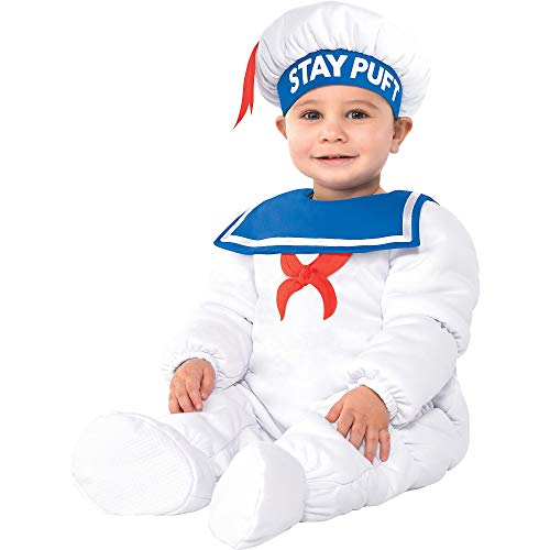 Party City Padded Stay Puft Marshmallow Man Halloween Costume for Babies, Ghostbusters, 6-12 Months, with Accessories