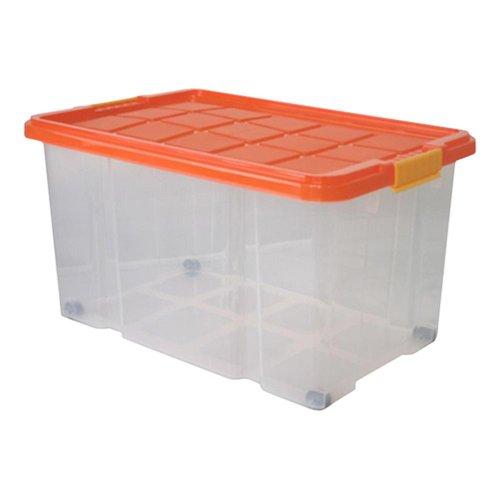 6 Stück AXENTIA Unibox mit Deckel und Rollen Stapelbox Universalbox Aufbewahrungskiste Spielzeugbox 60 x 40 x 34 cm 55 Liter