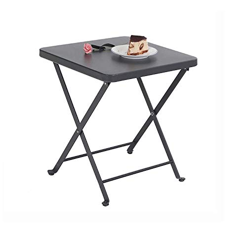 PHI VILLA Folding Side Table, Foldable Coffee Table, Outdoor Garden Table, Small Square Patio Table - Grey