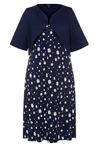 Ulla Popken Damen große Größen Kleid mit Bolero dunkelblau 58/60 748025 70-58+