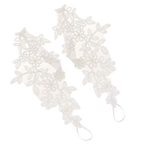 Baoblaze Sandalias Descalzas Boda Tobilleras Encaje Cadena Pies Mujer Joyería Nupcial - Blanco