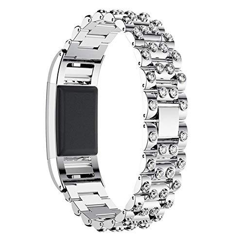 Pulsera De Acero Inoxidable Compatible Con Fitbit Charge 2, Correas Mujeres Banda De Repuesto Correas De Diamantes De Imitación Con Purpurina Brazalete De Metal Deportivo Para Charge 2,Silver 1