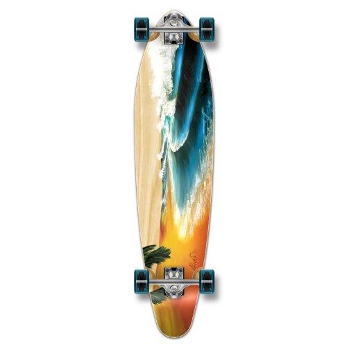 Yocaher Beach Series Complete Kicktail Skateboards Longboard Cruiser Black Widow Premium 80A Grip Tape Aluminum Truck ABEC7 Bearing 70mm Skateboard Wheels Complete  Kicktail  01  Beach