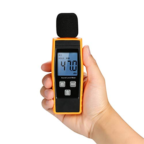 Jwkcm Portable Digital Noise Meter with Sponge Ball - Large LCD Display, Data Retention Function, Low Battery Indication, Sound Level Tester, Professional Tools