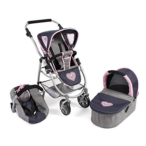 Bayer Chic 2000 637 26 Kombi-Puppenwagen Emotion 3-in-1 All In, Melange grau-Navy