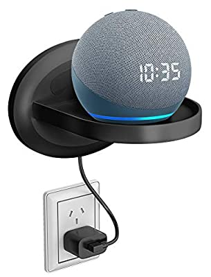 Bovon Small Wall Shelf for Echo Dot 4th Generation, Dot 3, Dot 2, Sonos, Google WiFi, Speakers, Clever Charging Shelf with Cord Arrangement, A Space-Saving Solution for Anything Up to 15Ib by Bovon