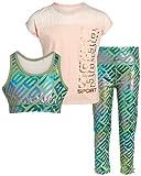 bebe Girls' Workout Set - 3 Piece Athletic Performance T-Shirt, Leggings, and Sports Training Bralette Set, Size 10/12, Grey/Pink