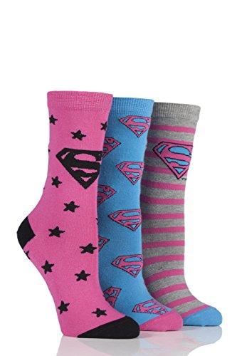Film & TV Characters Damen 3 Paar DC Superman/Superwoman Logo Socken sortiert 4-8 Damen