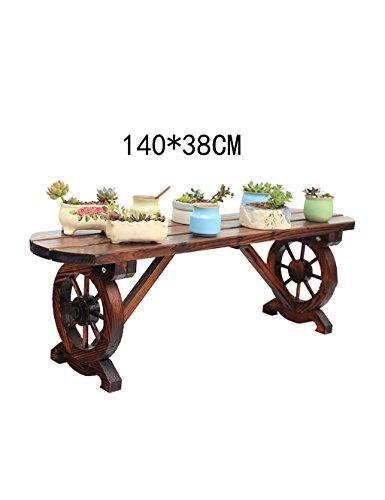 XIAOLIN- Étagère de fleurs de balcon en bois massif salle de séjour d'intérieur support de banc simple banc anti-corrosion Woody banquets de plein air --Cadre de finition de fleurs ( taille : 140*38cm )