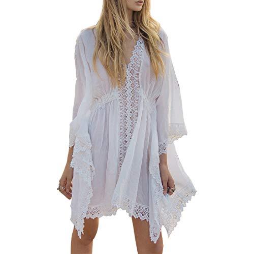 Wantbgd Pareos Playa Mujer Traje de Baño Ropa Bikini Cover Up Camisola Algodón Túnica Vestido