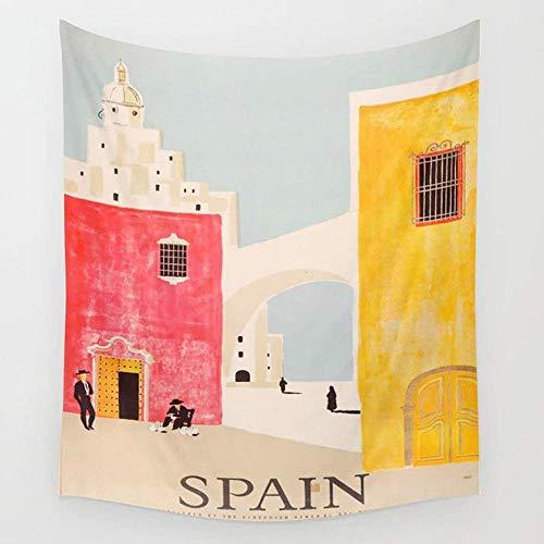 FPDecor Tapices de Pared, Spain Vintage Travel Poster Mid Century Minimalist Art...