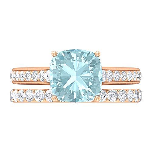 Conjunto de anillos solitarios de novia, 3,82 quilates, anillo de topacio azul cielo, D-VSSI Moissanite Eternity Band Anillo de compromiso, 8,5 mm, corte cojín, lado Ston, 14K Oro rosa, Size:EU 53