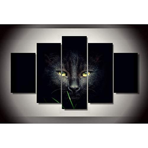 TIANJJss 5 foto's op canvas met 5 delen HD op canvas schilderij dier kat zwart modulaire afbeelding voor slaapkamer decoratie moderne woonkamer wanddecoratie