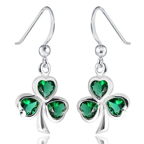 MATERIA - Orecchini a forma di quadrifoglio fatti a mano con zircone verde–Argento 925, orecchini portafortuna/felicità con box # SO-210
