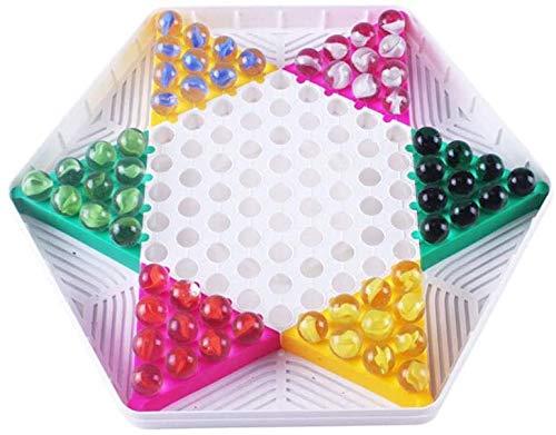 Schaakbord speelgoed Chinese Checkers, plastic borden, 60 Gekleurde Dammen, Beautiful en doorschijnend, puzzel bordspellen for een verscheidenheid aan mensen, gezonde materiaal (Maat: 29 * 26 * 2cm)