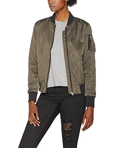 Urban Classics Damen Ladies Nylon Twill Jacket Bomber Jacke, Mehrfarbig (Darkolive/Black 795), Small