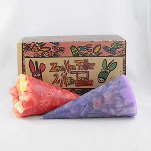 """Kunstkerze """"2.Horn.Food - Fliederfeuer"""" – handgemachte Kegelkerzen mit einzigartigem Leuchteffekt im 2er Geschenkset"""