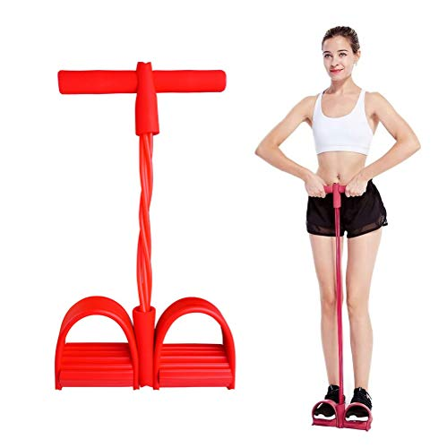 4-Tube Pedal Resistance Bands Elastic Pull Rope Fitness Equipment Natural Latex for Abdomen/Waist/Arm/Yoga Stretching Slimming Trainingc (red)