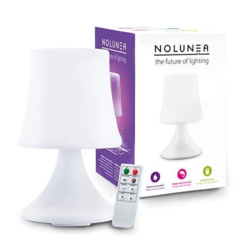 GOODS+GADGETS wasserdichte LED Tischlampe - Outdoor Lampe mit Fernbedienung und Farbwechel - kabellos mit Akku