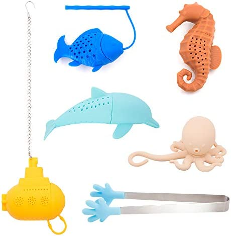 SNAIL GARDEN 6Pack Tea Infuser Set 5Pack Ocean Themed Silicone Tea Strainers Filters with 1 product image