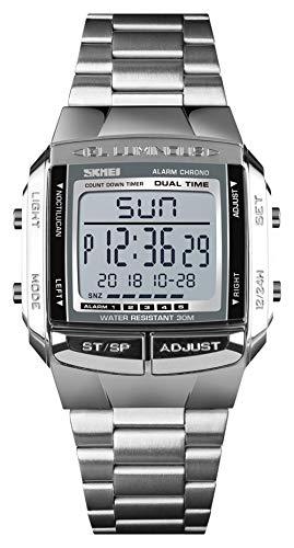 Herren Armbanduhr Elektronische Digitaluhr LED Edelstahl Multifunktionsuhr Quarz Stoppuhr