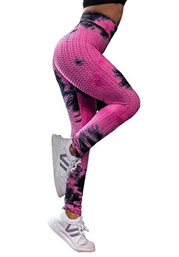 CMTOP Mallas Pantalones Deportivos Leggings Pantalones de Yoga Tie-Dye Mujer Yoga de Alta Cintura Elásticos y Transpirables para Yoga Running Fitness con Gran Elásticos