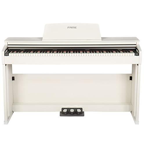 Fame DP-3000 WH Digital Piano matt weiß (Elektronisches Klavier für Einsteiger mit Hammermechanik, 88 Tasten, 3 Pedale & Kopfhörer-Anschluss)