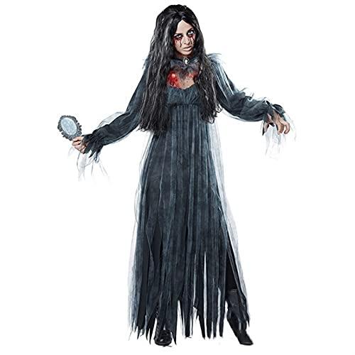 XILIN-1987 Capa Halloween para Adultos Cosplay Halloween Mujeres Bruja Devil Vampire Uniforme Vestido Largo Vestido Cosplay Transume, Azul Negro Capa Infantil Halloween (Size : B-M)