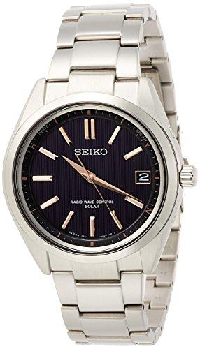 [セイコーウォッチ] 腕時計 ブライツ ソーラー電波 チタンモデル サファイアガラス 黒文字盤 SAGZ087 メンズ シルバー