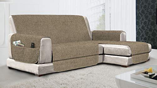 MB HOME BASIC Funda de sofá Antideslizante con Chaise Longue DX Relax, Color Pardo, 290 cm
