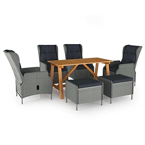 vidaXL Juego de Comedor para Jardín de 7 Piezas Muebles Mobiliario Balcón Exterior Terraza Hogar Cocina Mesa Silla Asiento Suave Estable Gris Claro